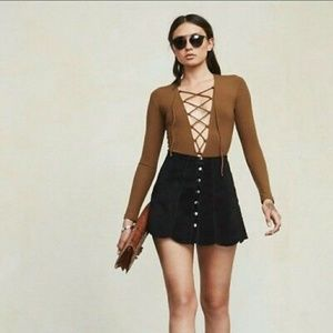 Reformation lace up long sleeved body suit
